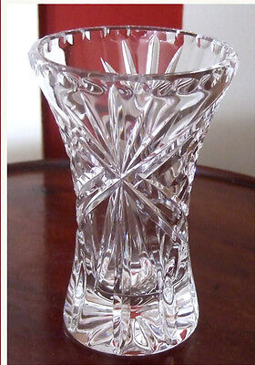 HEAVY SUPERB QUALITY CUT CRYSTAL VASE - 4½inch    $