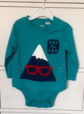 NEW Baby GAP SKI YA L8R Green Turquoise Long Sleeve Bodysuit 6-12 6-9 Months