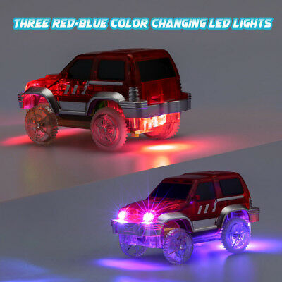 Kids Racing Mini Track Car Children Toy with 3 Blue-Red Color Changing LED Light