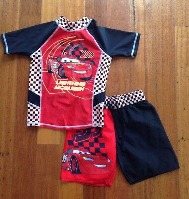 Lightning McQueen Bathers Rashvest And Board Shorts. Size 4. Excellent Condition