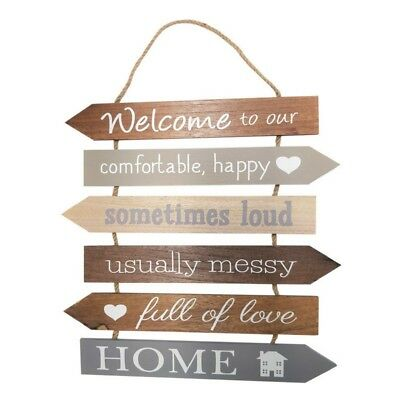 Welcome to our Home groß Holz Aufhängung Schild- Happy Messy laut Liebe 36 cm