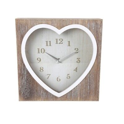 Large Square Lime Wooden Wash Heart Clock Wall Mantle Free Standing Contemporary