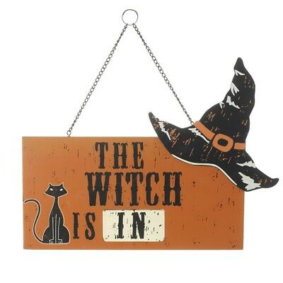 the witch ist Einlass & Auslass Holz Halloween Tür Schild- Dekoration