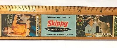 Vintage Skippy The Bush Kangaroo Wooden School Ruler Tv Show Star Photos Vgc!