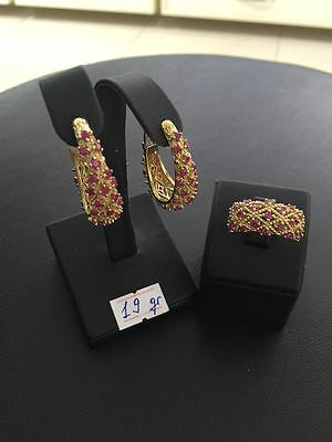 925 Sterling Silver Turkish  Handmade Jewelry Ladies Earring & Ring Set