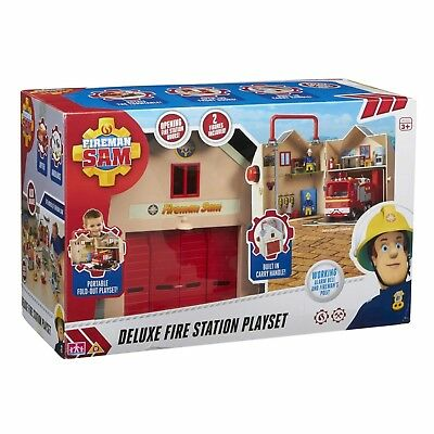 Fireman Sam Toy Deluxe Fire Station Playset Inc Accessories & 2 x Figure NEW