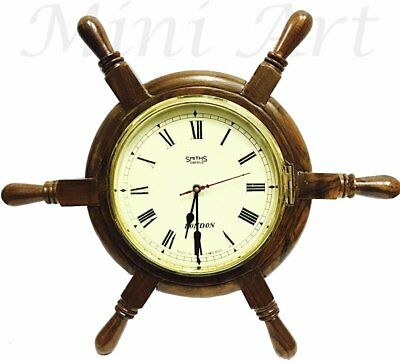 Wooden Time Piece Smith Enfield London Boat Ships Helms Wheel Wall Clock Wc 010