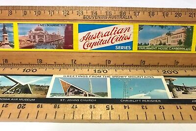 Pair Vintage Wooden School Rulers Australian Capital Cities + Snowy Mountains Vg