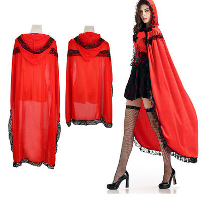 Gothic Hooded Red Vampire Cloak Robe Medieval Witchcraft Cape Halloween Costume