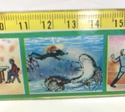 Vintage 3D Flicker Picture Plastic School Ruler Sports Theme 1980S Taiwan Exc!