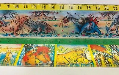 Vintage 3D Flicker Picture Plastic School Rulers Dinosaur Battle & Animal Babies