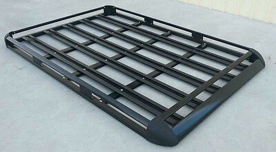 140x112cm  Black Coated Aluminium Car/4WD Roof Rack Luggage Basket + 2xCross Bar