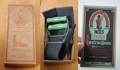 Vintage 1929 NOES Graduated Xercisor Rubber Resistance Workout Band Manual Box