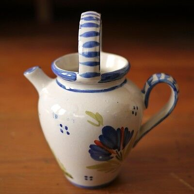 Antique Henriot Quimper French Faience Pottery Small Wine Jar Jug Breton Man