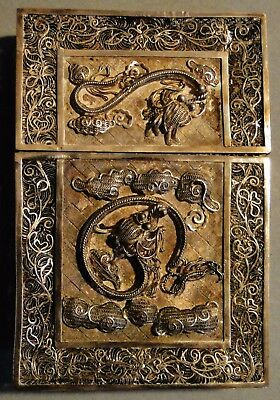 Antique Chinese Export Solid Silver Filigree Wire Work Card Case Dragons 1900