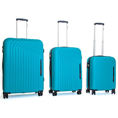 Set 3 Valigie Trolley Rigide in ABS 4 Ruote TSA Ravizzoni Cielo Turchese