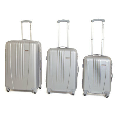 Set 3 Valigie Trolley Rigide in ABS 4 Ruote TSA Ravizzoni Jazz Silver