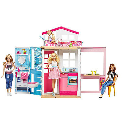 Barbie Modern 2-Story Portable Doll House with Furniture and Accessories, Pink