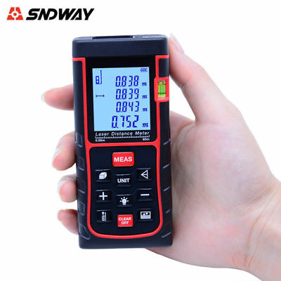 Laser Distance Measure SNDWAY 60M Laser Range Finder Meter Trena Tape Measure