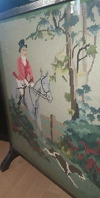Vintage Oak Fire Guard Screen With Tapestry Hunting Scene Front