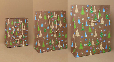 Pack of 12 Christmas Tree Gift Bags Packaging Xmas Paper Gift Bags Presents