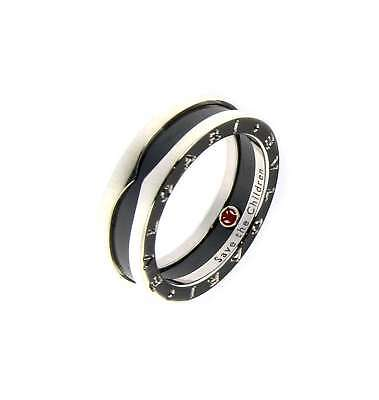 Bvlgari SAVE THE CHILDREN 1-BAND STERLING SILVER RING WITH BLACK CERAMIC AN85577