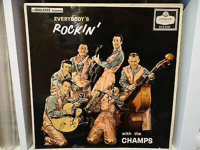 The CHAMPS,, EVERYBODY'S ROCKIN',, Original 1958 LONDON label LP.
