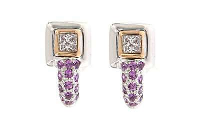 Gioielli Preziosi SQUARE SHAPE DIAMOND EARRING WITH RUBY IN WHITE AND PINK GOLD