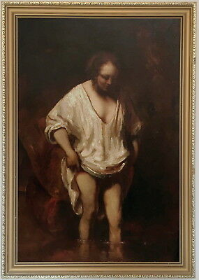Woman Bathing Old Master Oil Painting after Rembrandt van Rijn (Dutch, 1606-1669