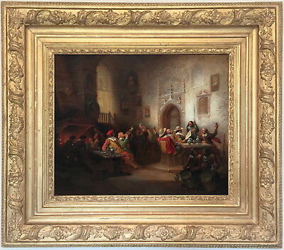 Soliders Merrymaking Antique Oil Painting by Hermann Schmitz (German, 1812-1870)