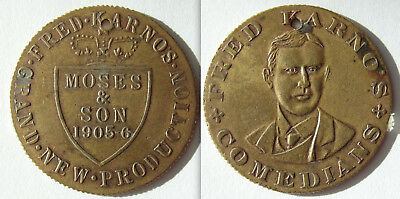 Collectable Fred Karno's Comedians - Moses & Sons 1905-6 Token - Holed
