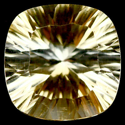 9.82 Ct Aaa! Natural! Genuine Golden Yellow Brazilian Citrine Concave Cushion