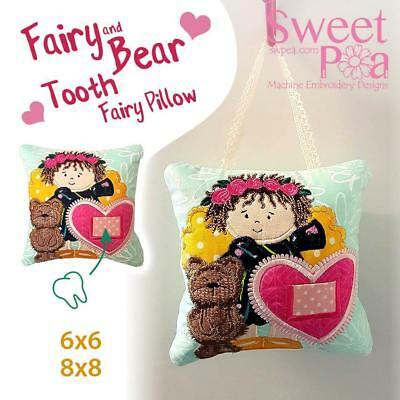 Fairy and bear tooth fairy pillow 6x6 and 8x8 machine embroidery design