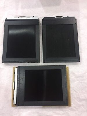 Lot Of 3 GRAFLEX Graphic 4x5 Cut Film Holders w Darkslides