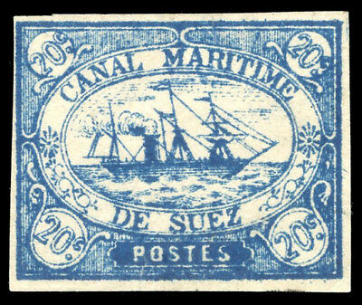Egypt - Suez Canal Company 1868 20c blue imperf mint cat £75 ($101). SG 3.