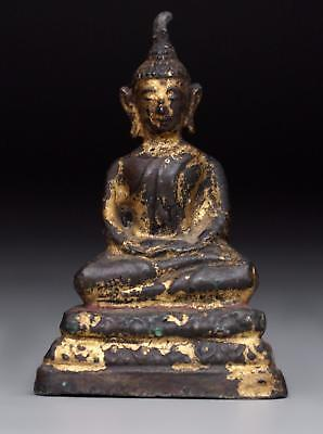 antique THAI AYUTTHAYA lacquer & gilt BRONZE BUDDHA 18th century statue figure