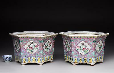 PAIR! antique FAMILLE ROSE PLANTER 19th Chinese porcelain NYONYA PERANAKAN style