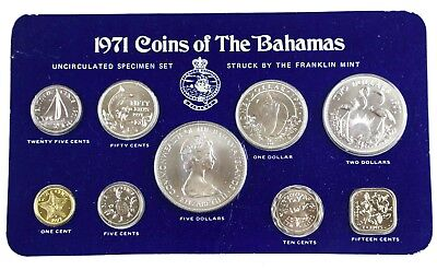 1971 Coins of The Bahamas Franklin Mint Uncirculated Specimen Set