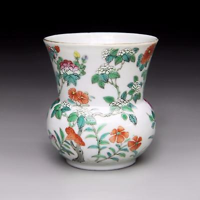 TOP! antique Chinese porcelain FAMILLE ROSE SPITTOON 19th Century DAOGUANG Vase