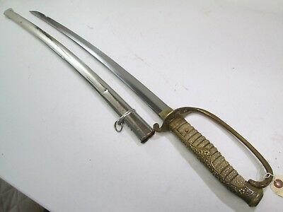 Russo Japanese High Ranking Officers Sword W Scabbard Very Active Temper #m163