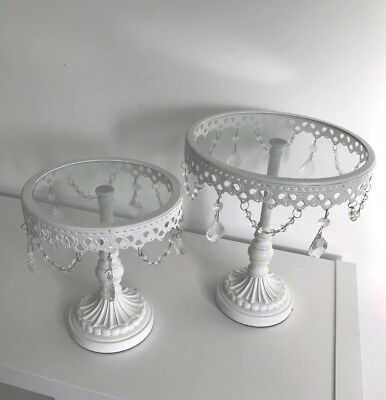 "Beautiful White Glass Hanging Crystal Cake Stand 6 Inch Wedding, 9"" For Sale Too"