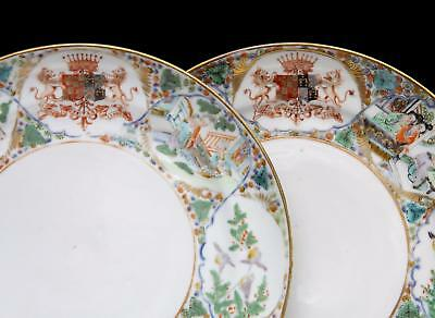 TOP PAIR! antique ARMORIAL CHINESE FAMILLE VERTE PLATES 19th C Canton porcelain