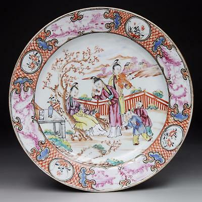 High quality! antique CHINESE FAMILLE ROSE PLATE 18th century QIANLONG PERIOD