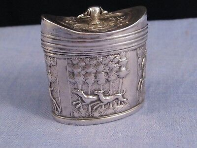 Antique Georgian Dutch Silver Travelling Snuff Peppermint Box Hunting Stag Dogs