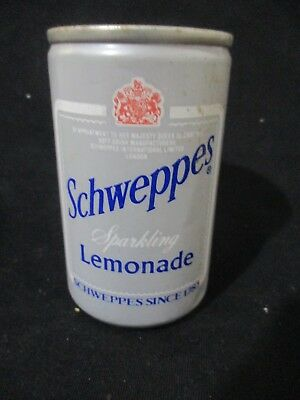 schweppes  lemonade: a 150 ml empty can, top opened, 1992.