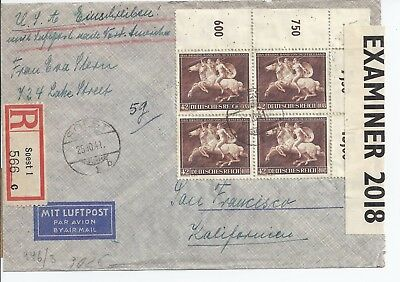 Germany Registered/Censored Cover Airmail 1941