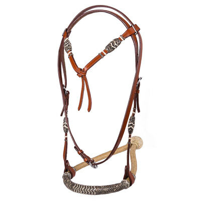NEW Western Tan Rawhide Bosal Hackamore Braided Bitless Bridle Size COB or FULL