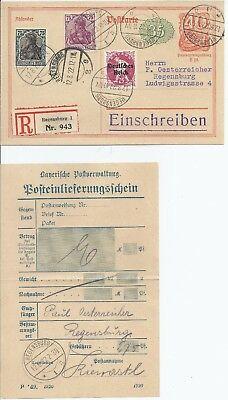 Germany 1922 Uprated & registered Stationery card with RECEIPT