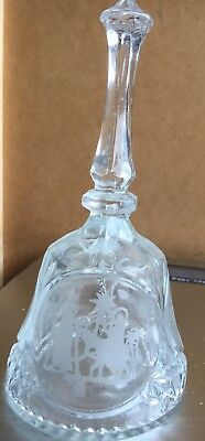 Collectible Clear Glass Christmas Nativity Bell Ringing-Glass Ball