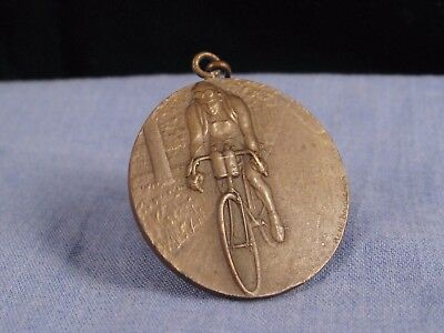 Antique French Art Deco Bronze Cycling Medal Badge Bicycle Dunlop 1926 Baudichon